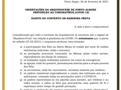 Orientações da Arquidiocese de Porto Alegre Prevenção ao Coronavírus (COVID-19)